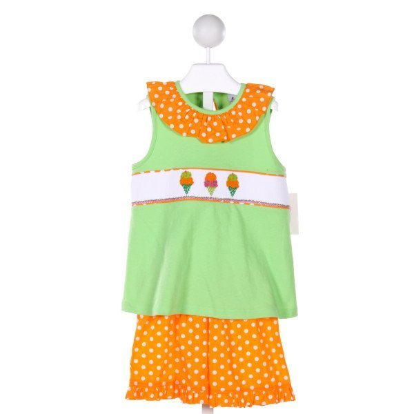 DELANEY  MULTI-COLOR  POLKA DOT SMOCKED 2-PIECE OUTFIT WITH RUFFLE
