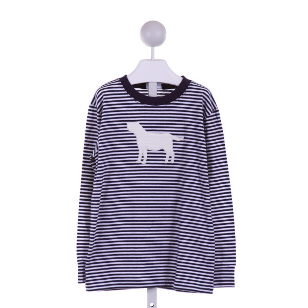 LITTLE ENGLISH  NAVY  STRIPED APPLIQUED KNIT LS SHIRT