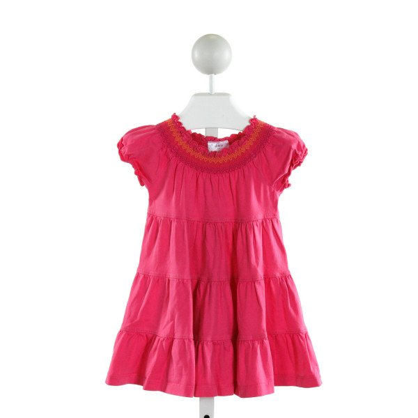 HANNA ANDERSSON  HOT PINK   SMOCKED KNIT DRESS WITH RUFFLE