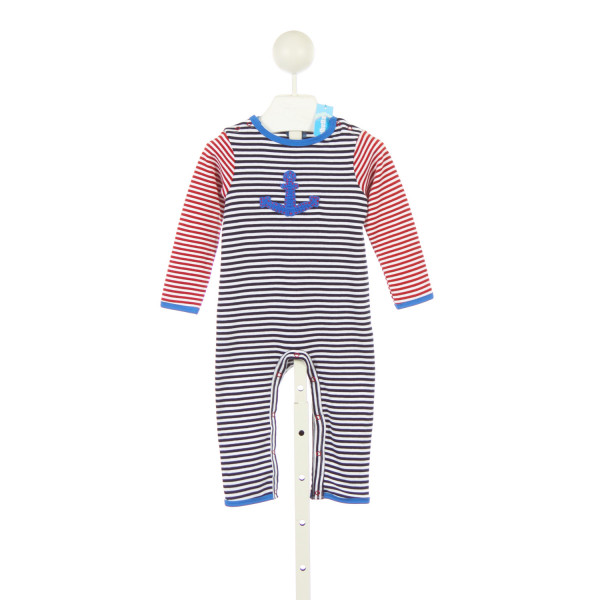 ALBETTA RED WHITE AND BLUE STRIPE KNIT ROMPER WITH ANCHOR *SIZE 6-12