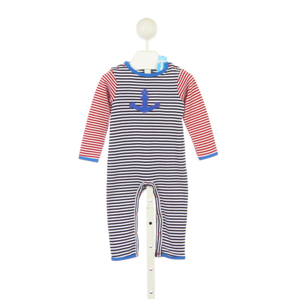 ALBETTA RED WHITE AND BLUE STRIPE KNIT ROMPER WITH ANCHOR *SIZE 3-6 MONTHS