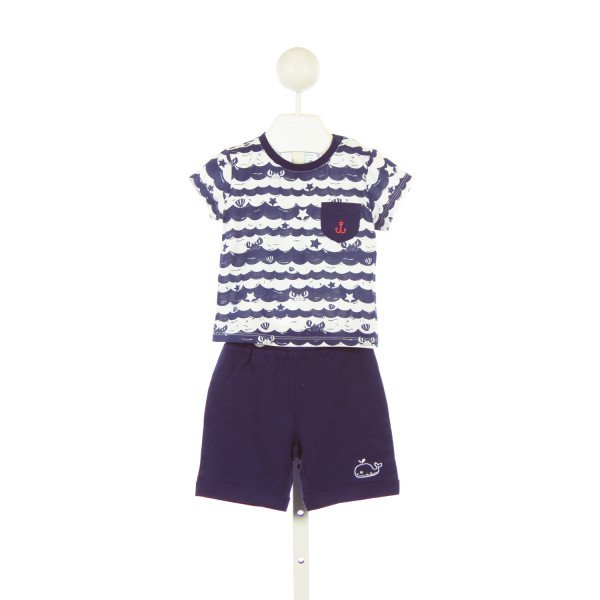 CIGOGNE BEBE KNIT NAVY SEA PRINT TOP AND NAVY SHORTS SET *SIZE 18-24M