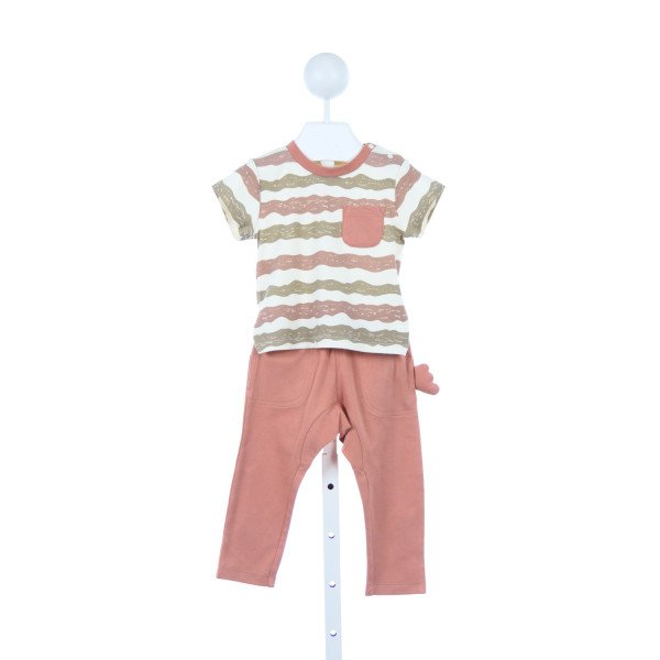 CIGOGNE BEBE BROWN AND IVORY STRIPED KNIT SET *SIZE 12-18M