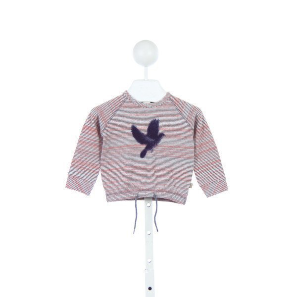KIDS CASE PINK STRIPED KNIT TOP WITH NAVY BIRD