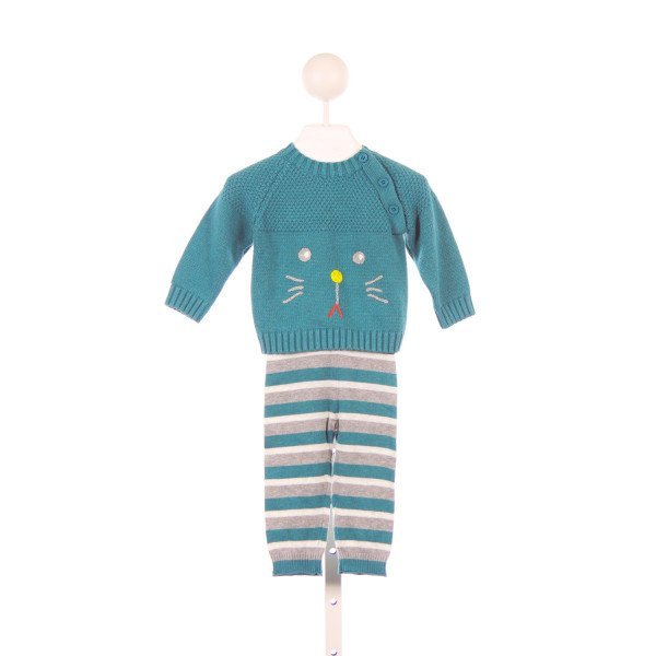 CIGOGNE BEBE TURQUOISE SWEATER SET WITH KITTEN FACE *SIZE 6-12M *NWOT