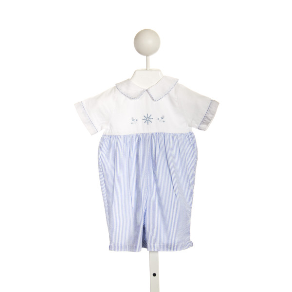 SOPHIE DESS BLUE SEERSUCKER ROMPER WITH EMBROIDERED ANCHORS