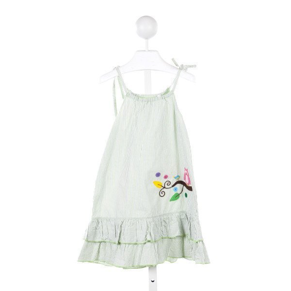 JUST DUCKY GREEN STRIPE SEERSUCKER DRESS WITH OWL APPLIQUE