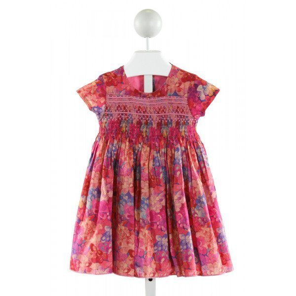 FLEURISSE  HOT PINK  FLORAL SMOCKED DRESS
