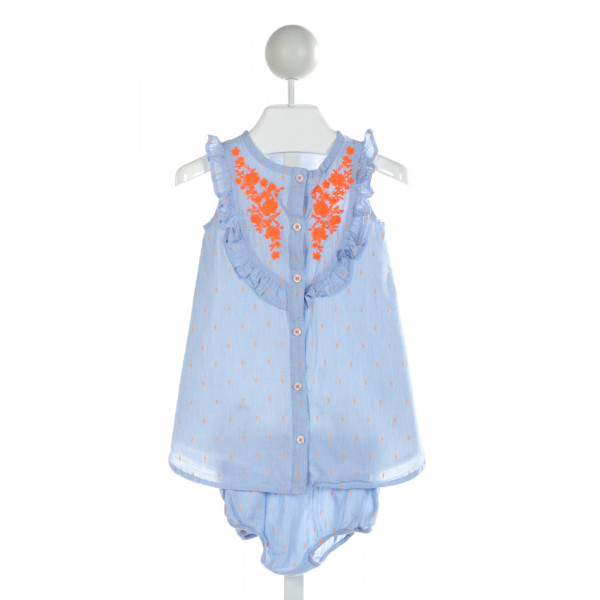 TUCKER & TATE  BLUE   EMBROIDERED 2-PIECE OUTFIT WITH RUFFLE