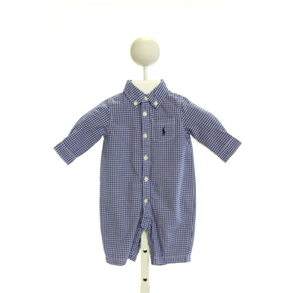 RALPH LAUREN  ROYAL BLUE  GINGHAM  LONGALL/ROMPER