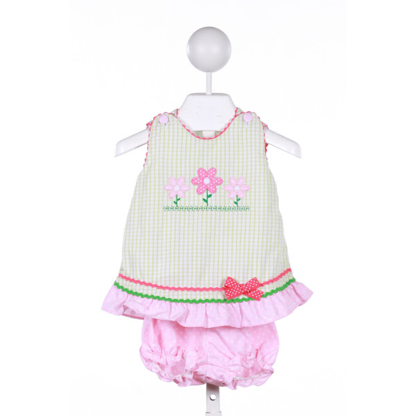 CANDYLAND  GREEN  WINDOWPANE APPLIQUED 2-PIECE OUTFIT WITH RIC RAC