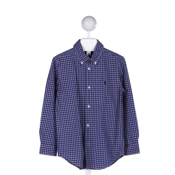 POLO BY RALPH LAUREN  BLUE COTTON GINGHAM  CLOTH LS SHIRT