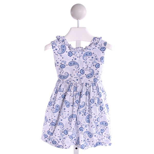 LITTLE ENGLISH  BLUE  FLORAL PRINTED DESIGN DRESS WITH RUFFLE