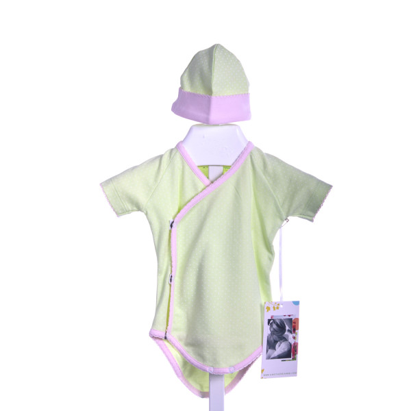 A MOTHERS ARMS GREEN/WHITE DOT ONESIE WITH PINK TRIM AND HAT