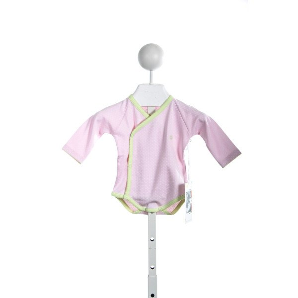 A MOTHERS ARMS PINK/WHITE DOT ONESIE WITH GREEN TRIM