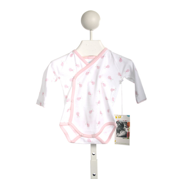 A MOTHERS ARMS WHITE ONESIE WITH LADYBUGS AND PINK TRIM