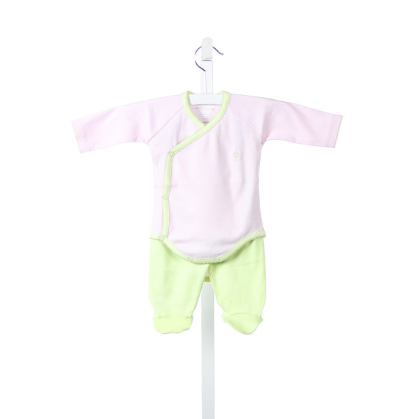 A MOTHERS ARMS PINK AND WHITE TINY DOTS KNIT ONESIE WITH GREEN TRIM AND MATCHING GREEN PANTS