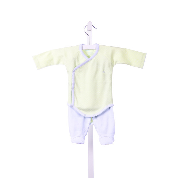 A MOTHERS ARMS GREEN AND WHITE TINY DOTS ONESIE WITH BLUE TRIM AND MATCHING BLUE PANTS