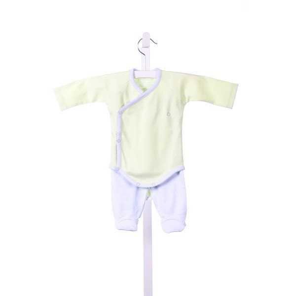 A MOTHERS ARMS GREEN AND WHITE TINY DOTS ONESIE WITH BLUE TRIM AND MATCHING BLUE PANTS *SIZE 3-6M