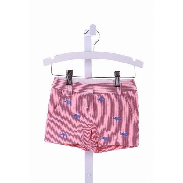 CREWCUTS FACTORY  RED  STRIPED EMBROIDERED SHORTS