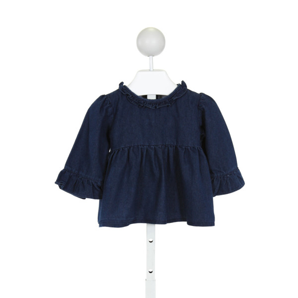 THE SMOCKING BUG  BLUE    CLOTH LS SHIRT WITH RUFFLE
