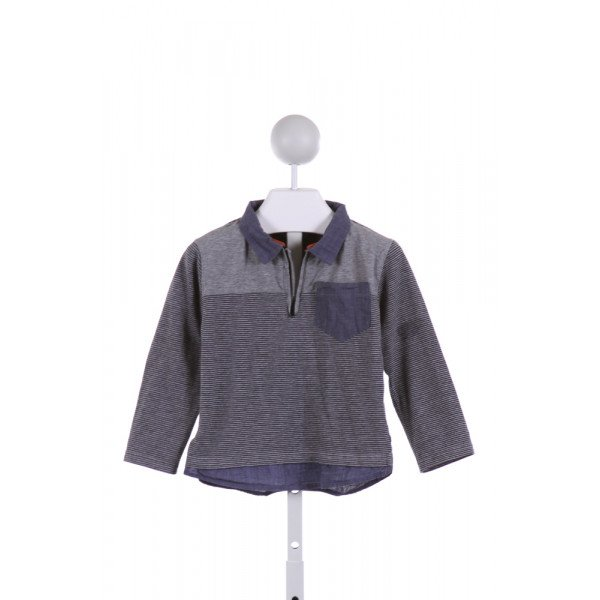 ANDY & EVAN  MULTI-COLOR  STRIPED  QUARTER ZIP PULLOVER