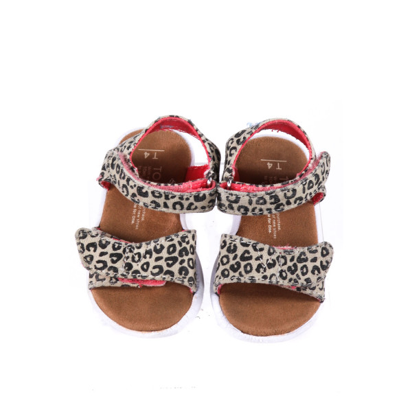 TAN TOMS WITH CHEETAH STRAPS *SIZE 4, GUC