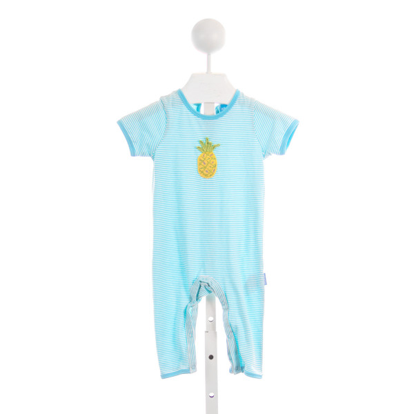 ALBETTA TEAL AND WHITE STRIPE KINIT PINEAPPLE ROMPER *SIZE 6-12 MONTHS