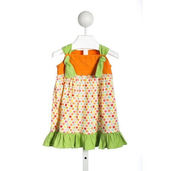 RED BEANS ORANGE AND GREEN DOT DRESS