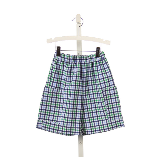 COTTON BLU BLUE, GREEN AND WHITE TRI-CHECK SHORTS