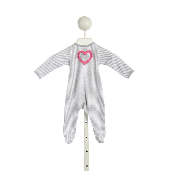 MAGNOLIA BABY GRAY STRIPED KNIT ROMPER WITH PINK HEART