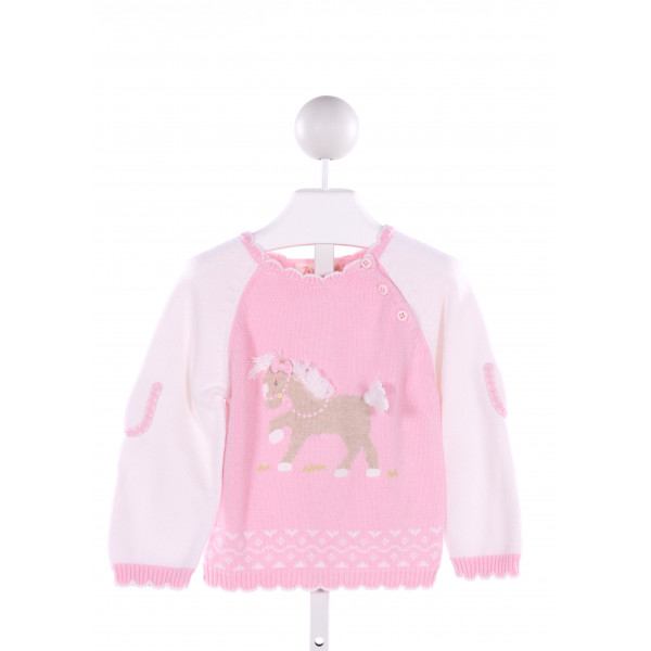 ZUBELS  LT PINK  PRINT EMBROIDERED SWEATER