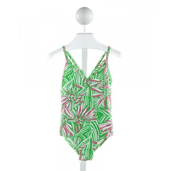 LILLY PULITZER  GREEN  FLORAL  1-PIECE SWIMSUIT WITH RUFFLE