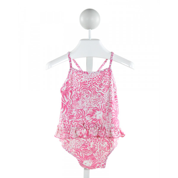 LILLY PULITZER  HOT PINK   PRINTED DESIGN 1-PIECE SWIMSUIT WITH RUFFLE