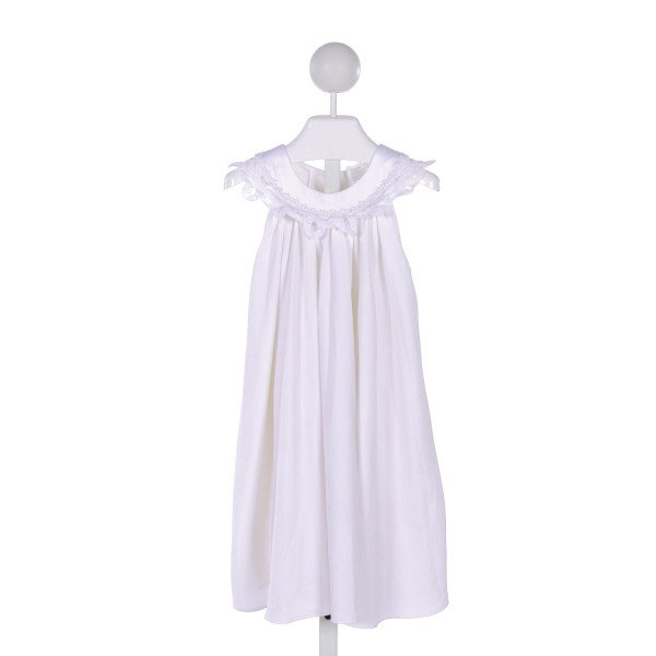 PEACHES 'N CREAM  CREAM COTTON  EMBROIDERED DRESS WITH LACE TRIM