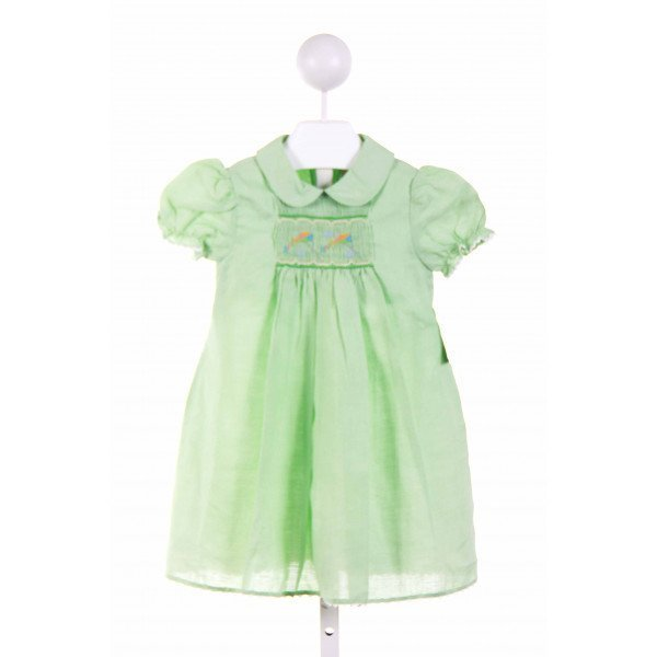 ROSALINA  GREEN LINEN  SMOCKED CASUAL DRESS WITH RIC RAC