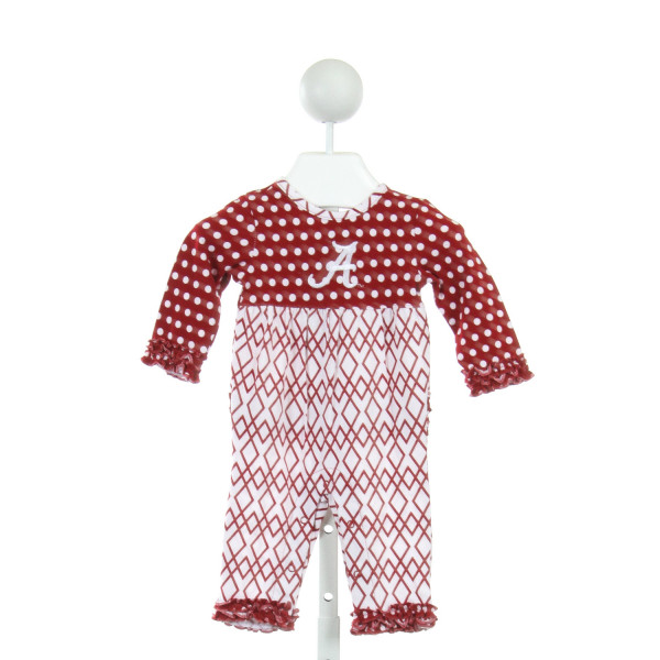 TARA COLLECTION  RED  POLKA DOT PRINTED DESIGN ROMPER WITH RUFFLE