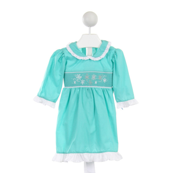 BLUE DOVE  AQUA   SMOCKED DRESS WITH RUFFLE