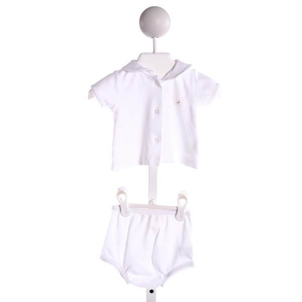 PIXIE LILY  WHITE   EMBROIDERED 2-PIECE OUTFIT WITH PICOT STITCHING