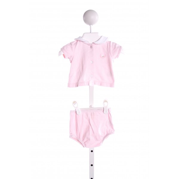 PIXIE LILY  PINK   EMBROIDERED 2-PIECE OUTFIT WITH PICOT STITCHING