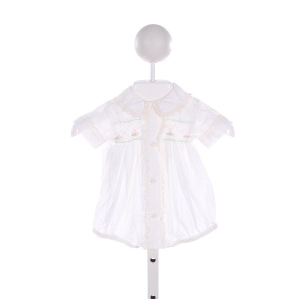 REMEMBER NGUYEN  IVORY   SMOCKED BUBBLE WITH LACE TRIM