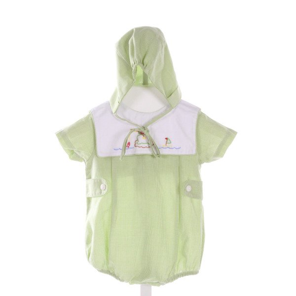 MOM & ME  GREEN  MICROCHECK EMBROIDERED BUBBLE
