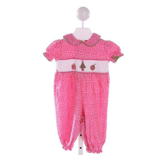 SAGE & LILLY  PINK  POLKA DOT SMOCKED ROMPER WITH RIC RAC