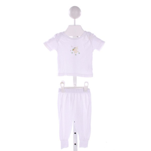 SQUIGGLES  WHITE COTTON POLKA DOT APPLIQUED 2-PIECE OUTFIT