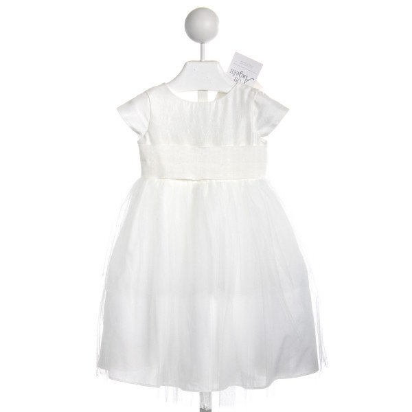 US ANGELS IVORY SILK FLOWER GIRL DRESS *NWT