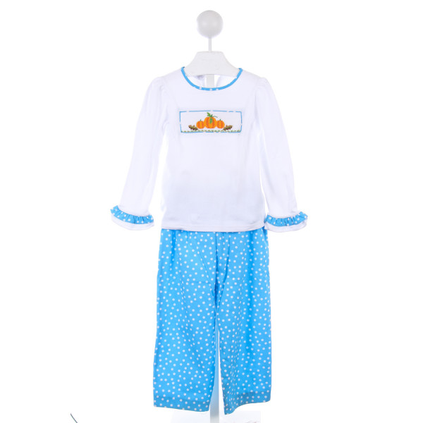 VIVE LA FETE 2 PIECE WHITE KNIT TOP WITH PUMPKIN SMOCKING AND BLUE POLKA-DOT TRIM WITH MATCHING PANTS