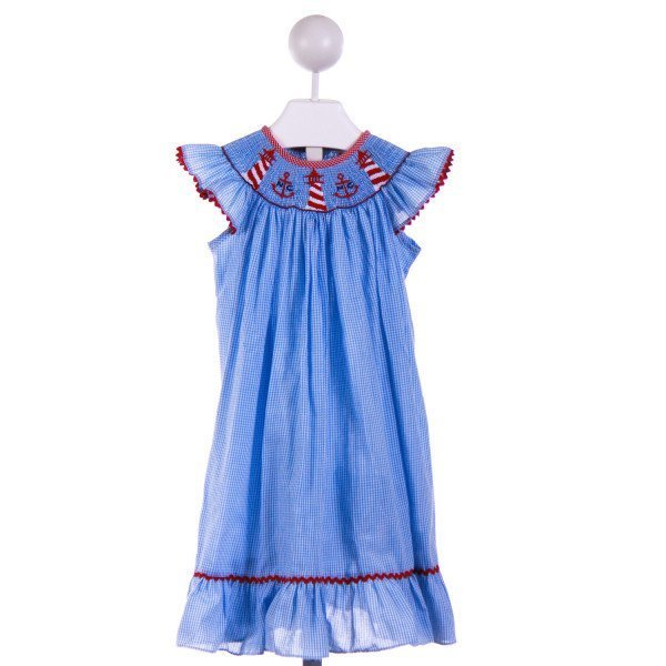 POSH PICKLE  BLUE  GINGHAM  CASUAL DRESS WITH RIC RAC