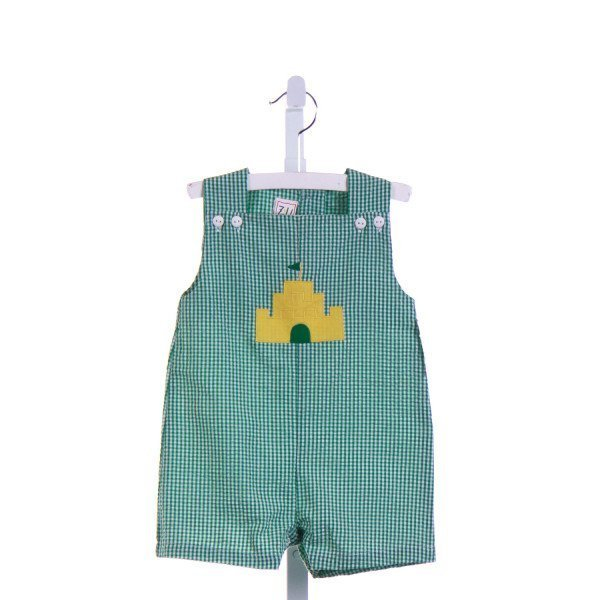 ZU   GREEN SEERSUCKER GINGHAM APPLIQUED JOHN JOHN/ SHORTALL