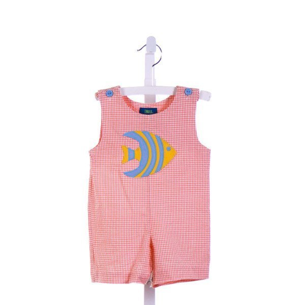 COTTON BLU  ORANGE SEERSUCKER GINGHAM APPLIQUED JOHN JOHN/ SHORTALL