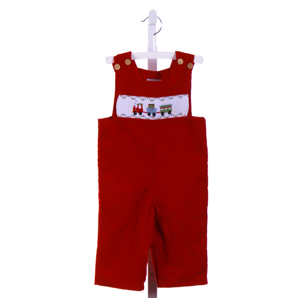 LITTLE ENGLISH  RED CORDUROY  SMOCKED LONGALL/ROMPER